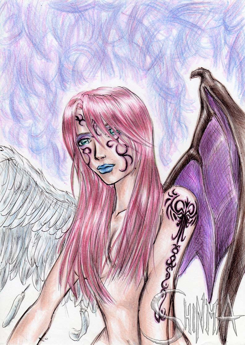 792x1116 Half Angel Half Demon Girl By Matiassoto On Half