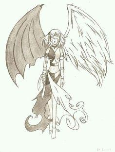 236x313 Half Angel Half Demon Drawing Angel, Tattoo