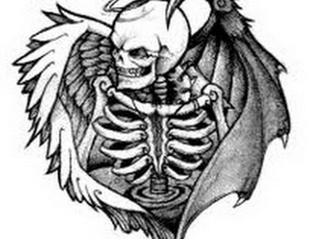 640x480 Angel And Demons Sketches Angel And Demon Tattoos