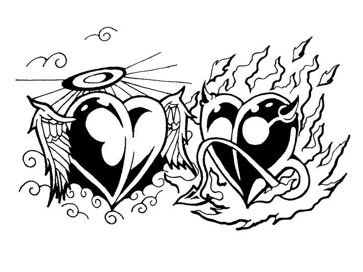 720x540 Angel And Devil Tribal Hearts By Tinnoka