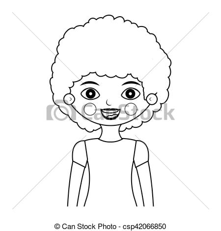 450x470 Half Body Girl Silhouette With Curly Hair Vector Illustration.