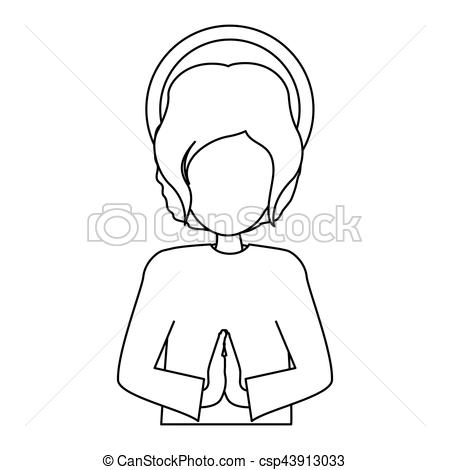 450x470 Silhouette Half Body Picture Baby Jesus Vector Illustration