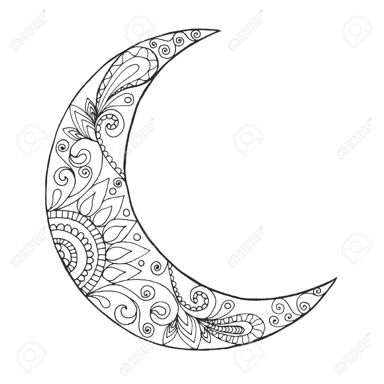 1300x1300 Unconditional Half Moon Coloring Pages Ramadan Lantern Drawing