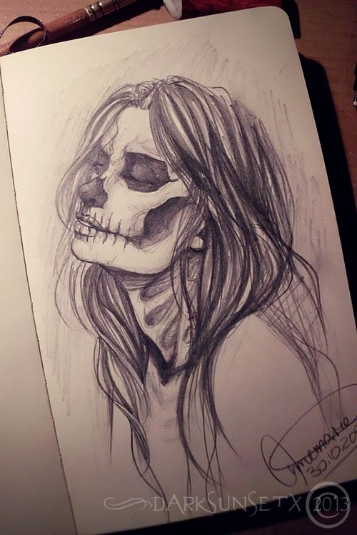 500x749 Art, Bones, Drawing, Girl, Halloween, Horror, Love, Mask, Paper