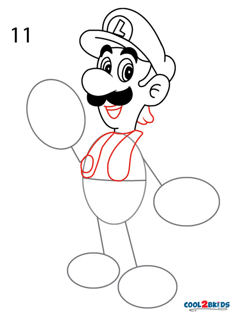 489x650 How To Draw Luigi (Step By Step Pictures) Cool2bkids