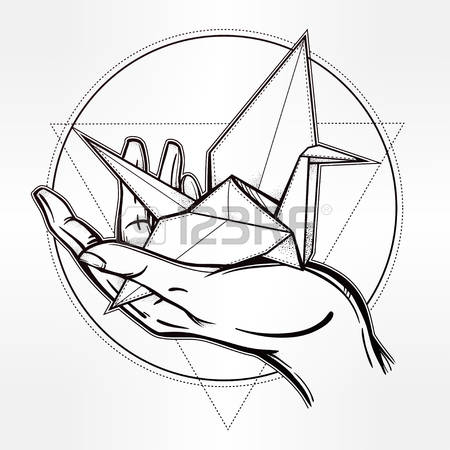 450x450 Hand Drawing Template 58659439 Hand Drawn Paper Crane In A Hand