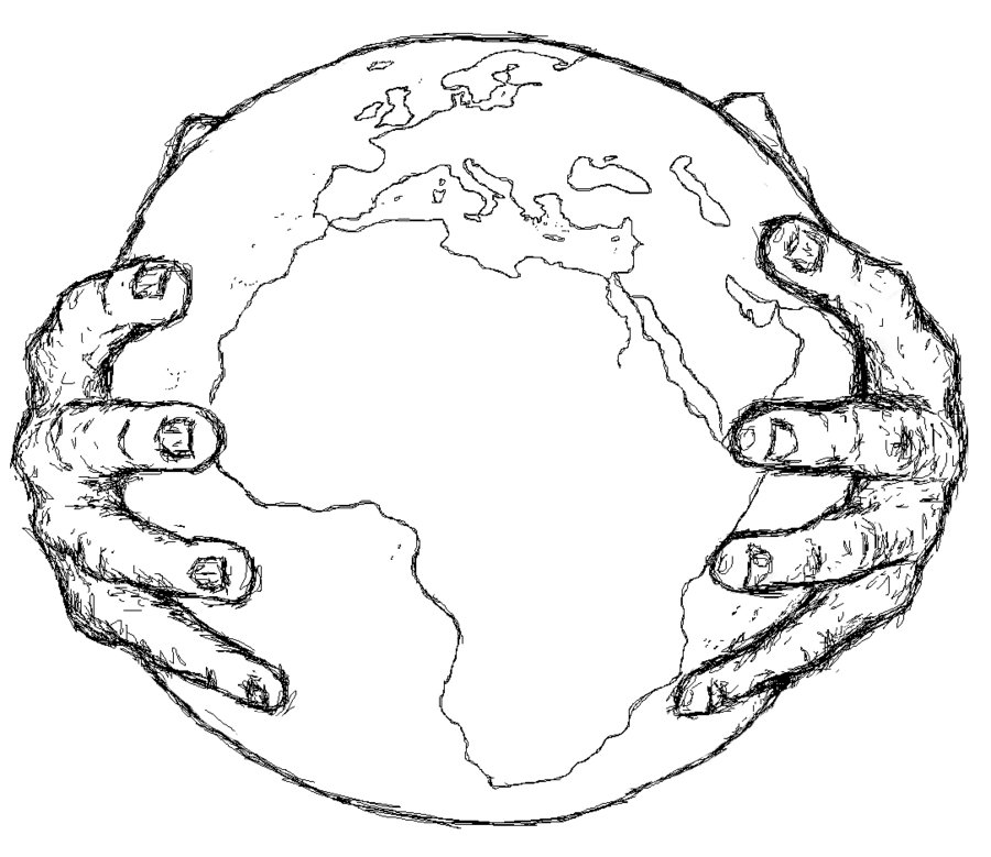 Hand Holding Globe Drawing