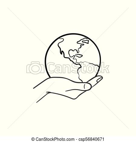 450x470 Hand Holding The Globe Hand Drawn Sketch Icon. Hand Holding