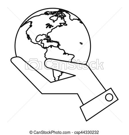 450x470 Hand Holding World Concept Communication Thin Line Vector