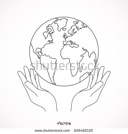 450x470 Collection Of Hand Holding A Globe Drawing High Quality