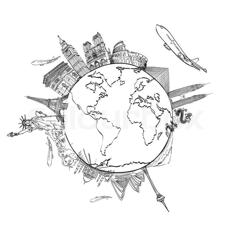 800x800 Drawing The Dream Travel Around The World In A Whiteboard Stock