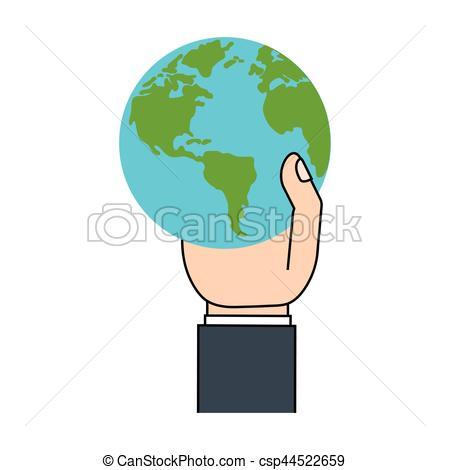 450x470 Cartoon Hand Holding World Earth Ecology Vector Illustration