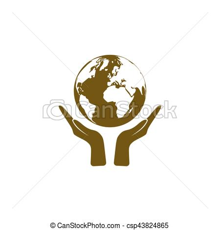 450x470 Flat Paper Cut Style Icon Of Two Hands Holding Earth. Vector
