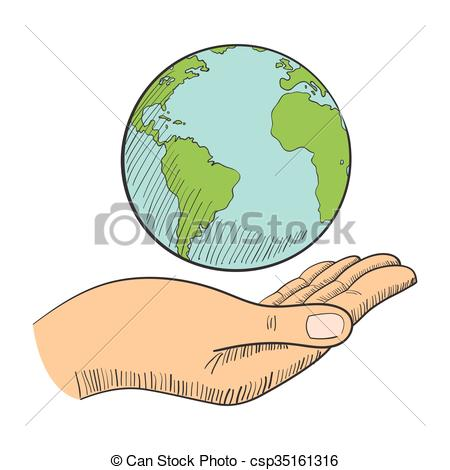 450x470 Illustration Of A Hand Holding A Globe Vector Clip Art