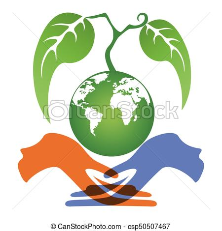 450x470 Isolated Hands Holding Earth Plant On White Background.