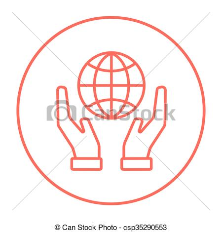 450x470 Two Hands Holding Globe Line Icon. Two Hands Holding Globe