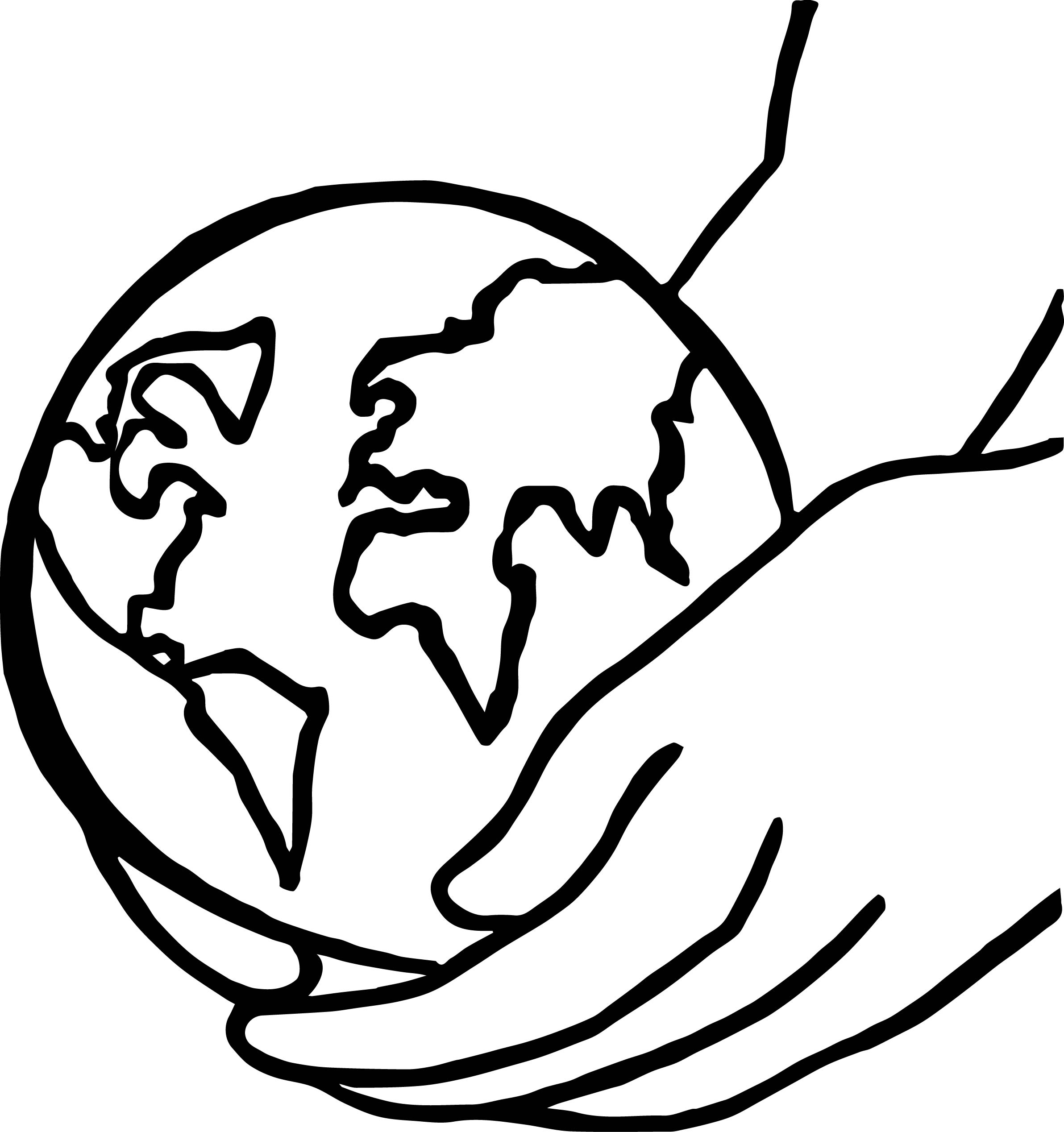 2384x2537 Earth Globe Hold On Hand Coloring Page
