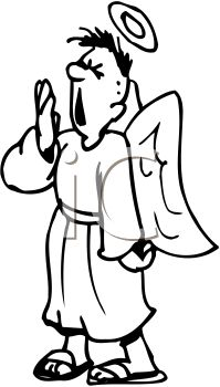 199x350 Picture Of A Male Angel With A Halo And Wings Yawning With His