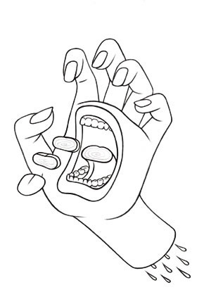 290x432 Collection Of Mouth On Hand Drawing High Quality, Free