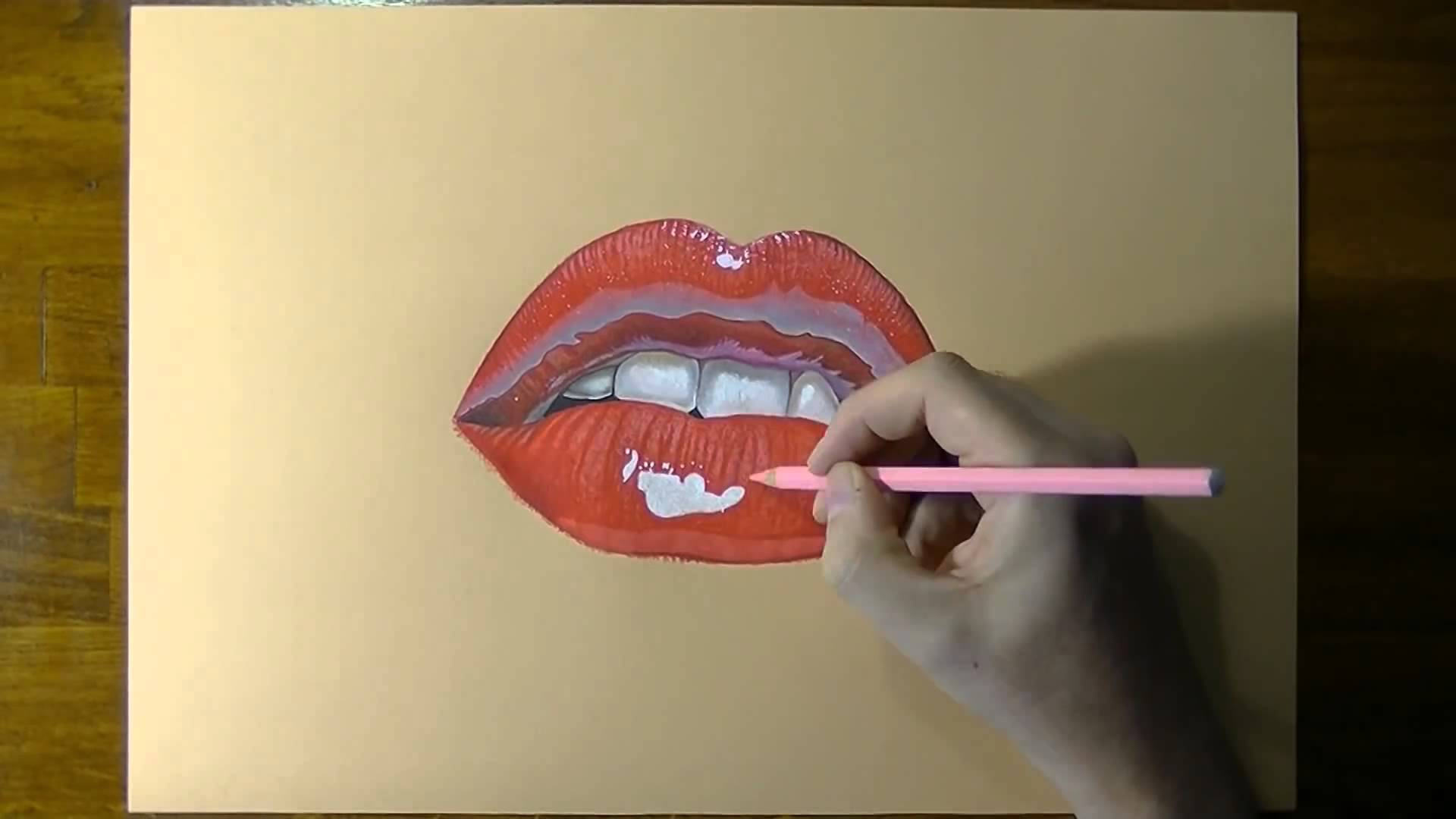1920x1080 Drawing A Female Mouth With Cute Red Lips