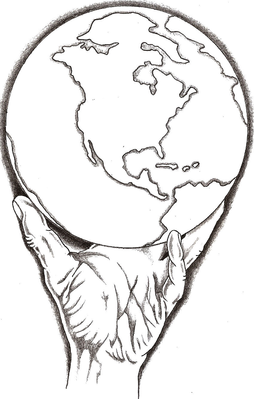 850x1335 Collection Of Drawing Of A Hand Holding The World High