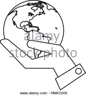 300x335 Hand Protect The Earth Flat Design Web Vector Icon. Red Square