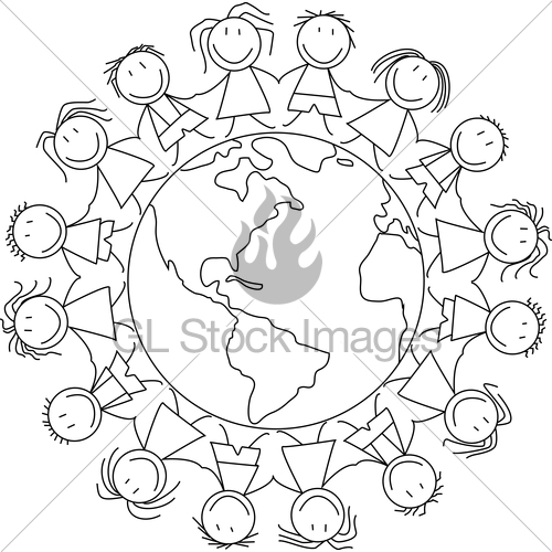 500x500 Kids Holding Hands On World , Kids Illustration Childrens Dr Gl