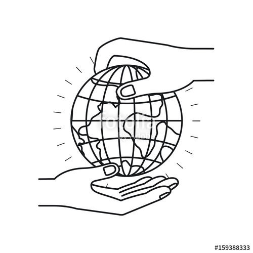 500x500 Silhouette Side View Of Palm Human Holding A Earth Globe World