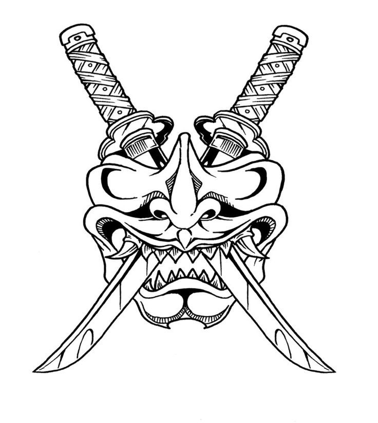 736x824 Samurai Samurai Mask Drawing Hannya Mask Tattoo Samurai Mask