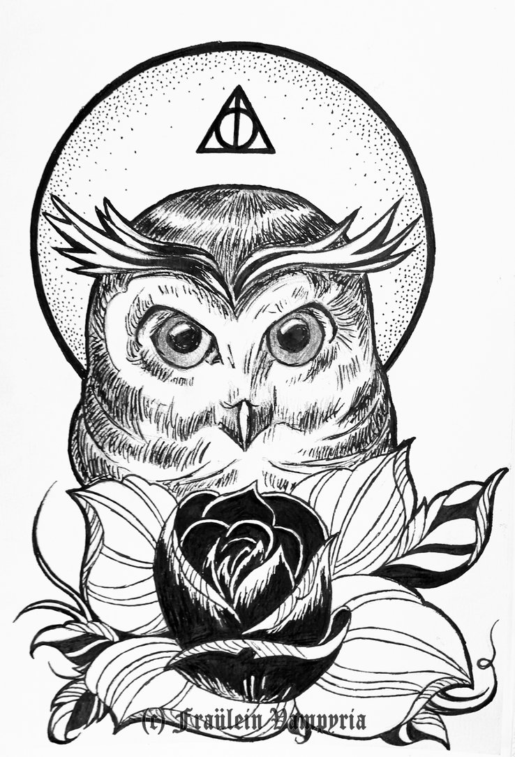 738x1083 The Owl, The Flower, And The Deathly Hallow By Frauleinvampyria