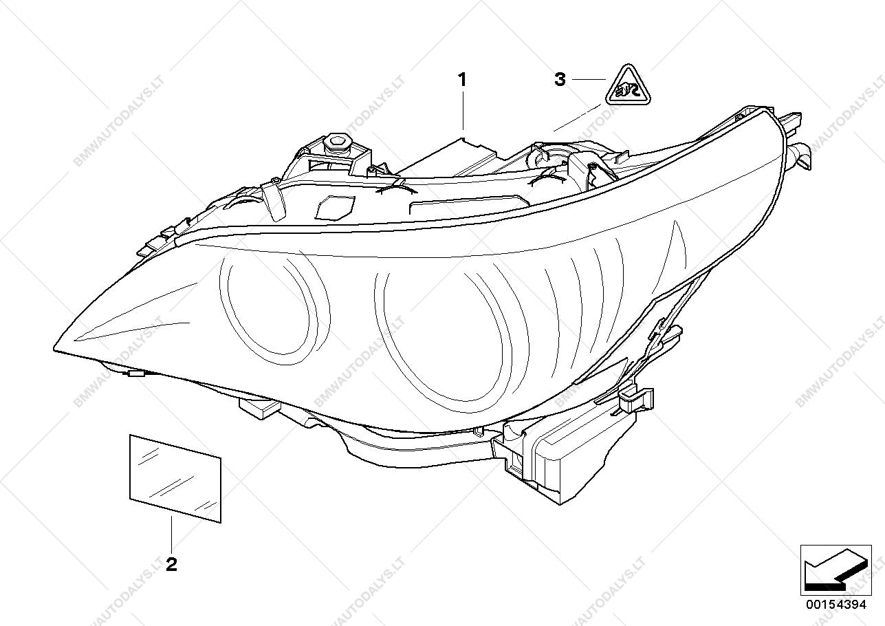1287x910 Headlight For Bmw 5' E60 Lci, 530d Sedan (Ece) Bmw Spare Parts