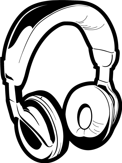 500x668 Headphones Drawing Dj Clipart