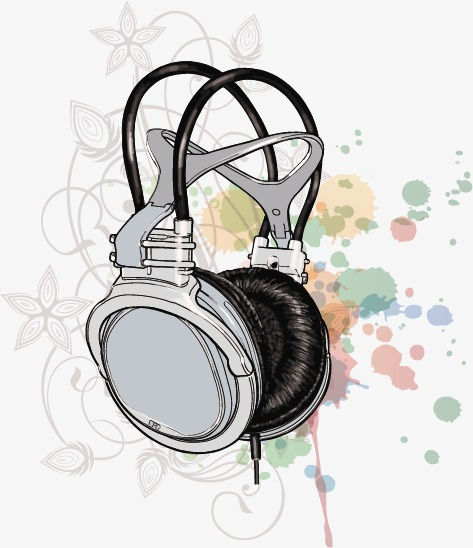 473x548 Hand Drawn Fashion Color Headphones, Hand Painted, Headset
