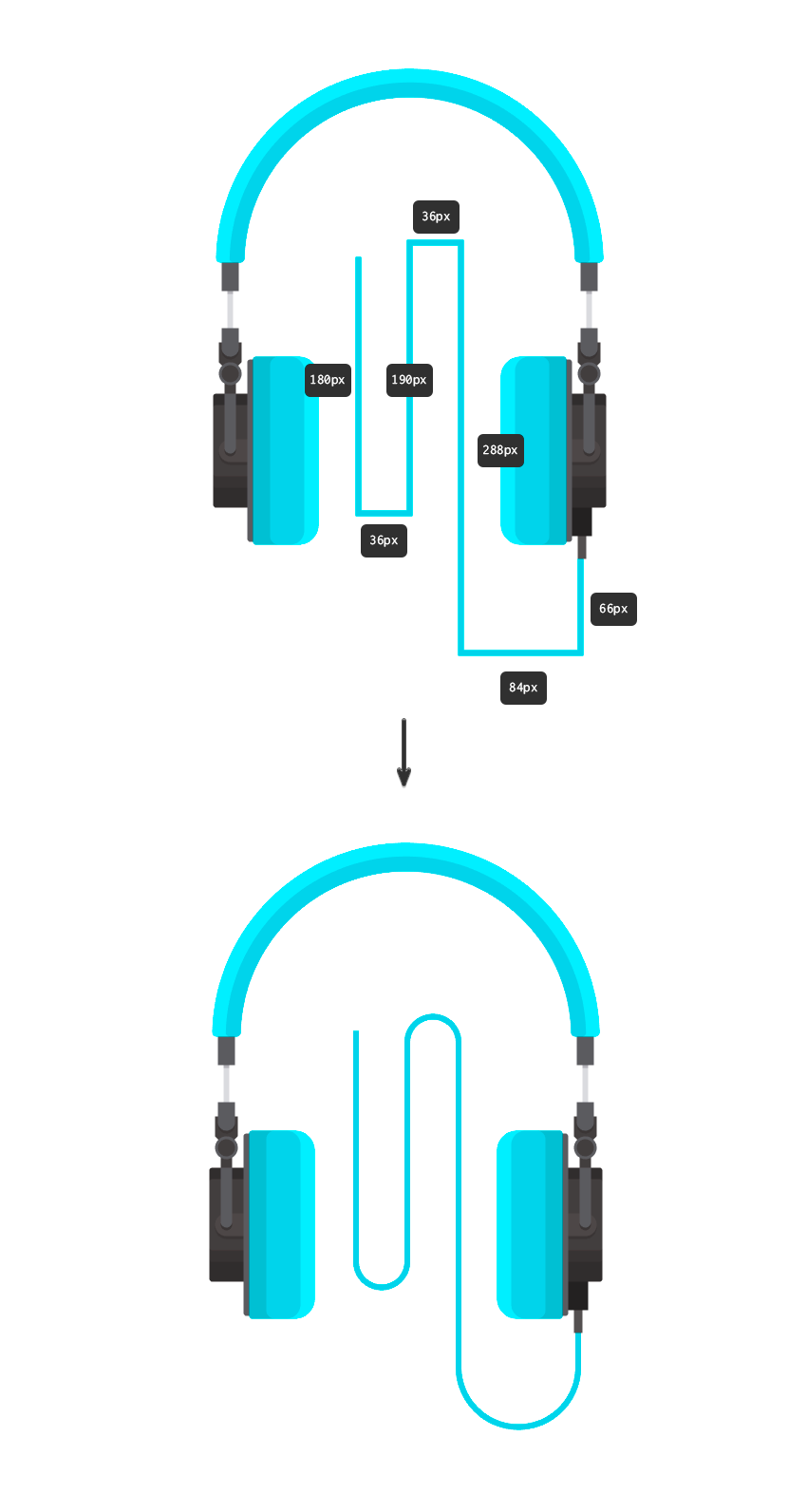 850x1592 How To Create Flat Design Headphones In Adobe Illustrator