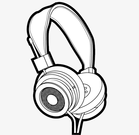 580x562 Hand Drawn Headphones, Headset Line Drawing, Freehand Line Drawing