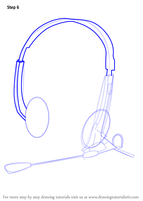600x846 Learn How To Draw Headphones With Microphone (Musical Instruments