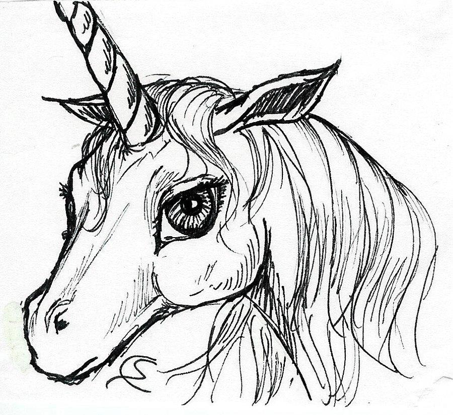 900x826 Unicorn Head By Soniacarreras