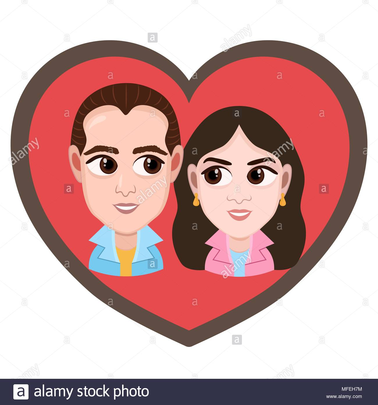 1300x1390 Cartoon Character, Vector Drawing Portrait Lovers Couple Boy