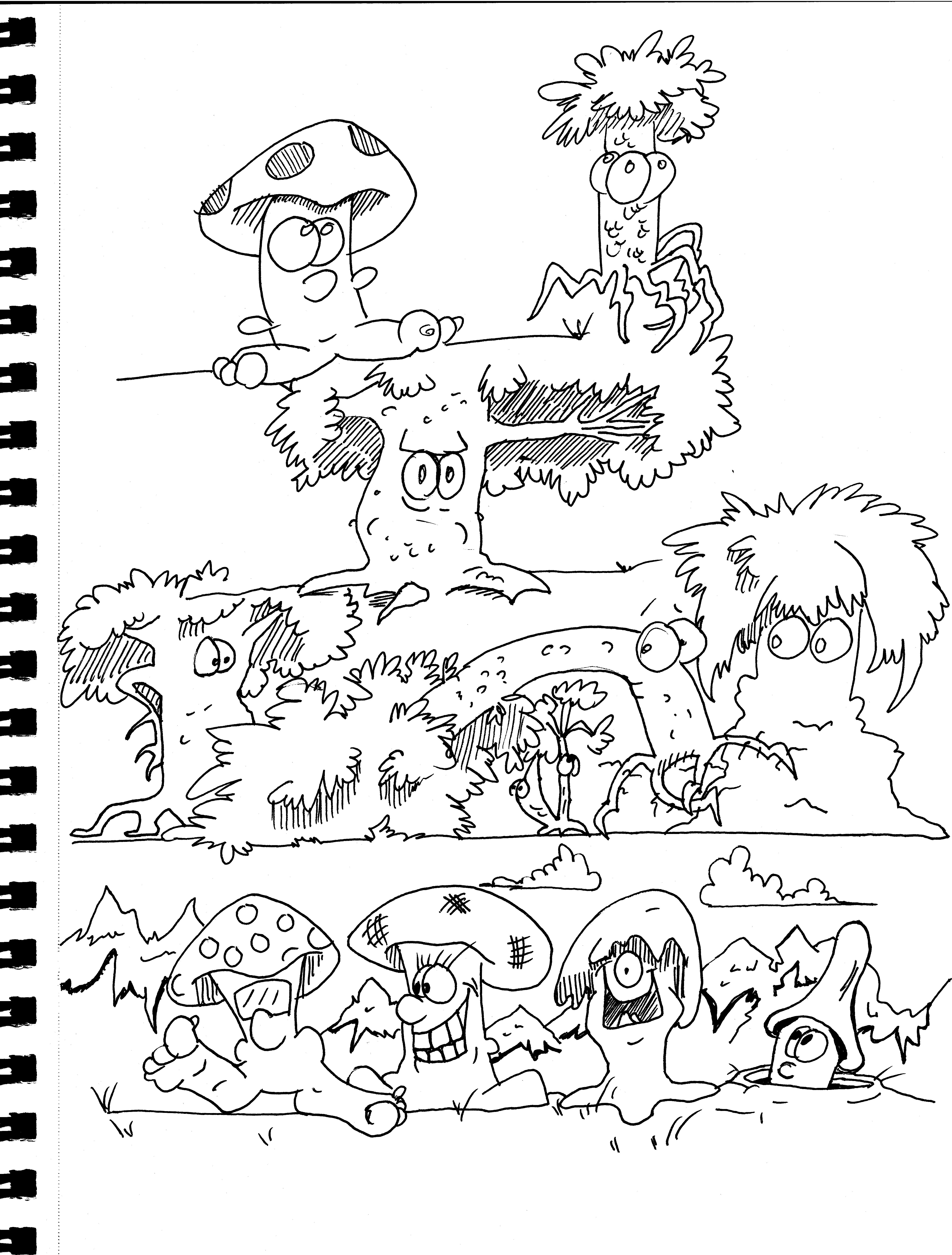 4956x6534 Mushrooms, Trees That Look Lsd Inspired Doodles, Boon, Cartoons