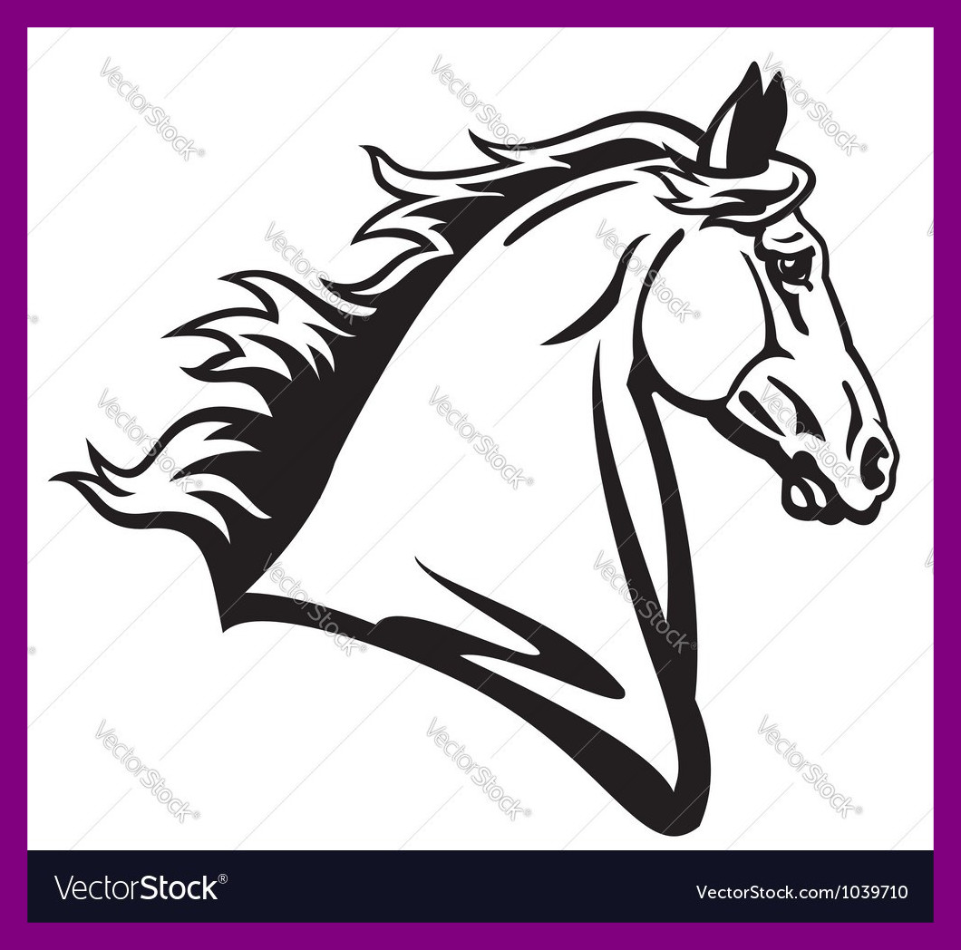 1060x1048 Appealing Horse Head Profile Black White Royalty Vector Image Pict