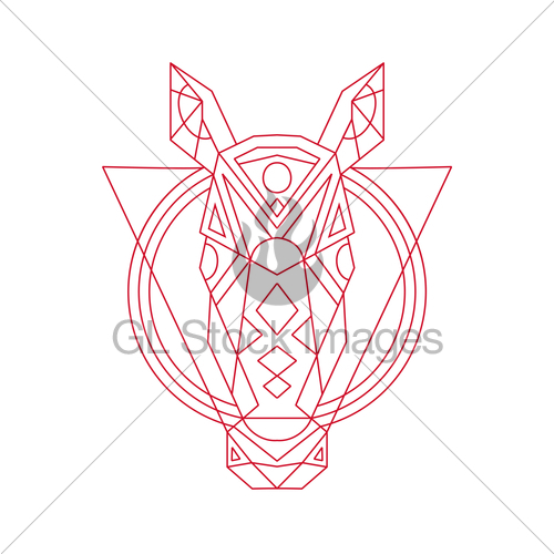 500x500 Geometric Horse Head Line Drawing Gl Stock Images