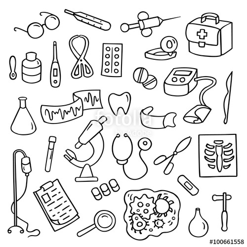 500x500 Cute Cartoon Set Laboratory Equipments. Medical Collection