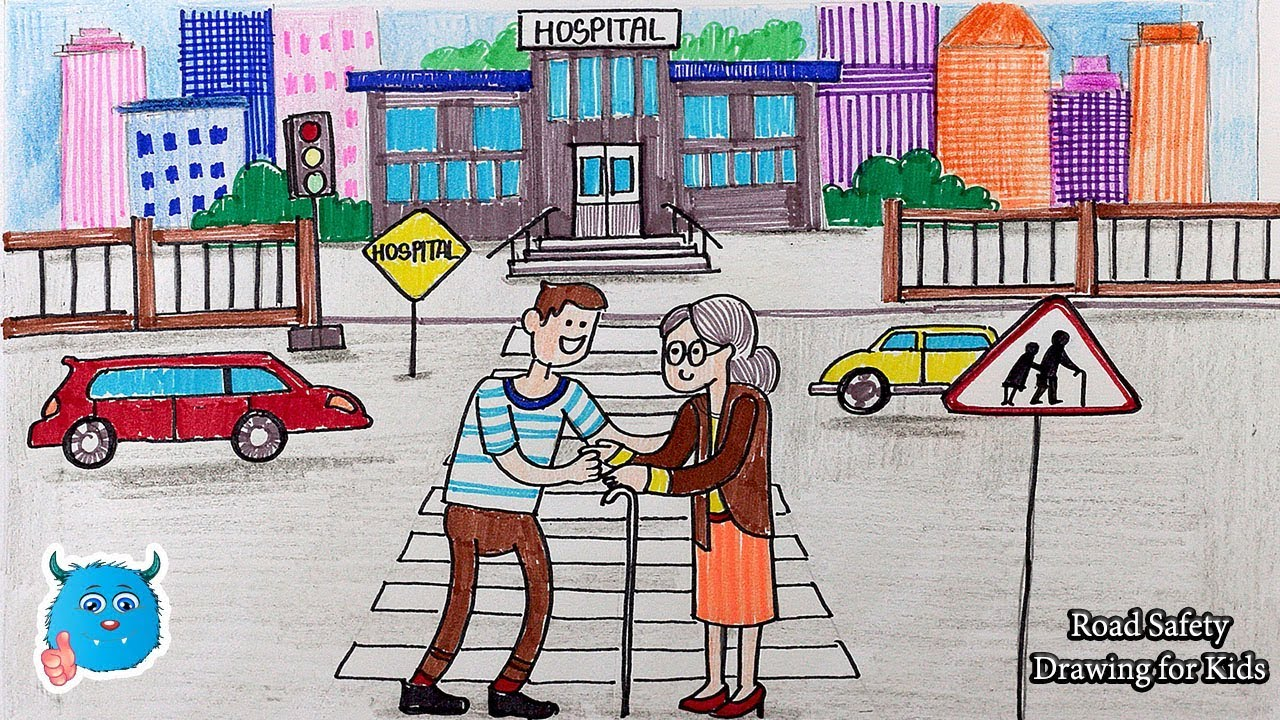 1280x720 How To Draw City Road Safety Drawing Easy For Kids