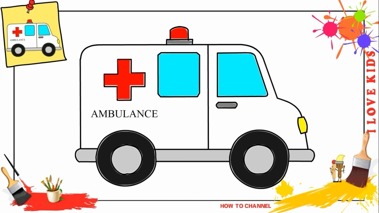 1280x720 How To Draw An Ambulance Car Easy Amp Slowly Step By Step For Kids