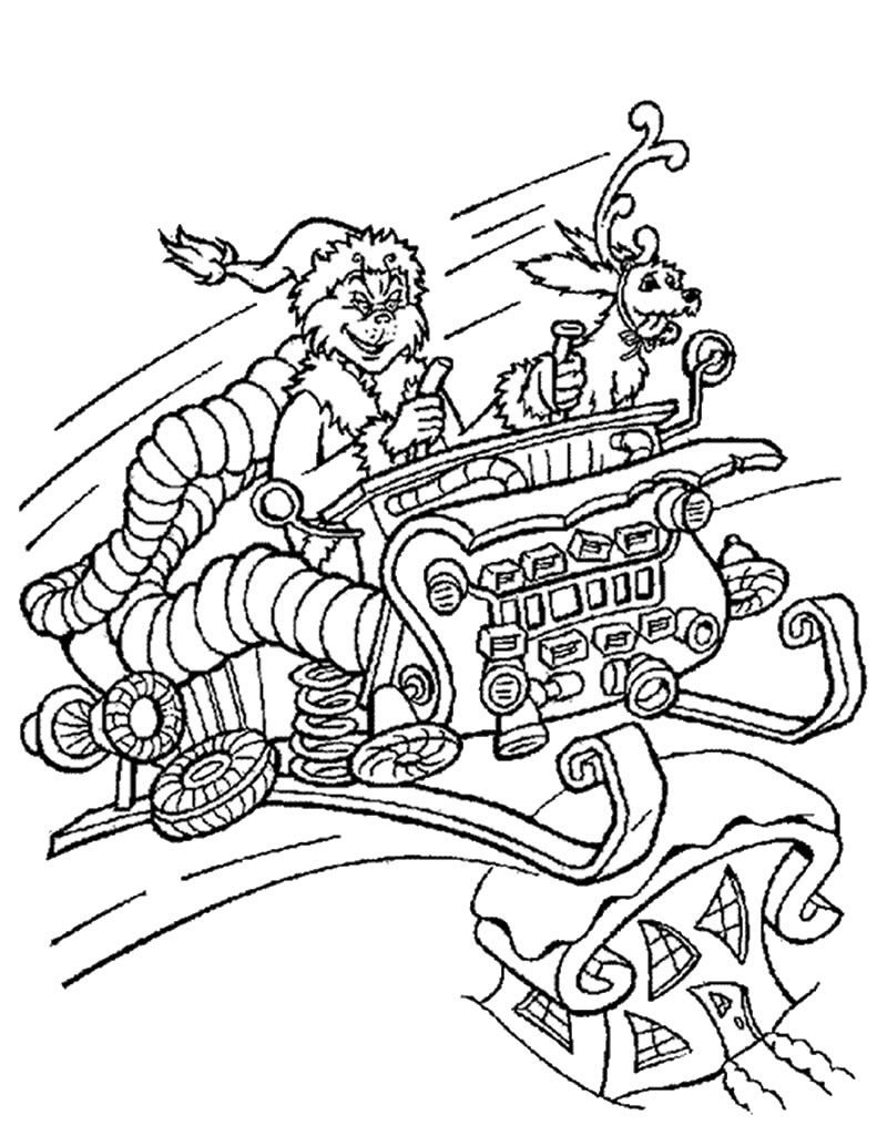 800x1034 Grinch In Sleigh Coloring Page Holidays Grinch