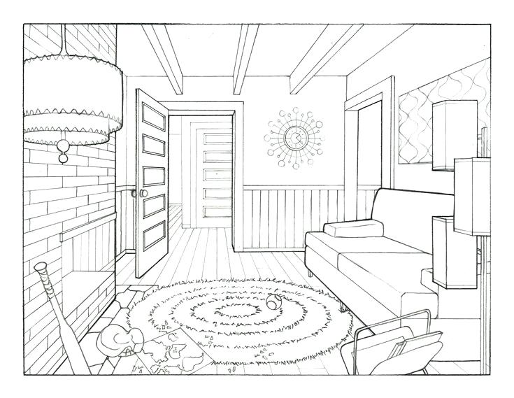735x569 Living Room Drawing One Point Perspective Drawing Room Living Room