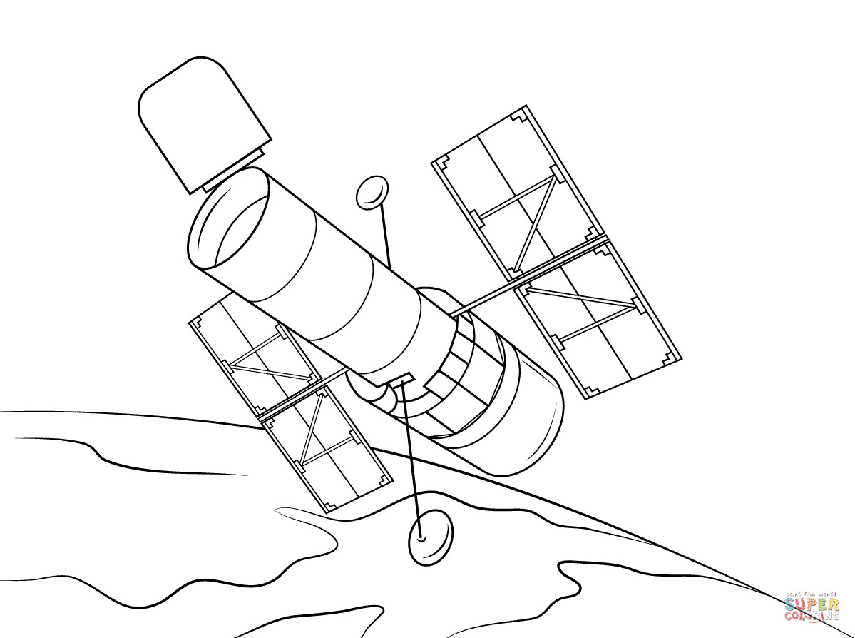 1199x894 Hubble Space Telescope Coloring Page Free Printable Pages