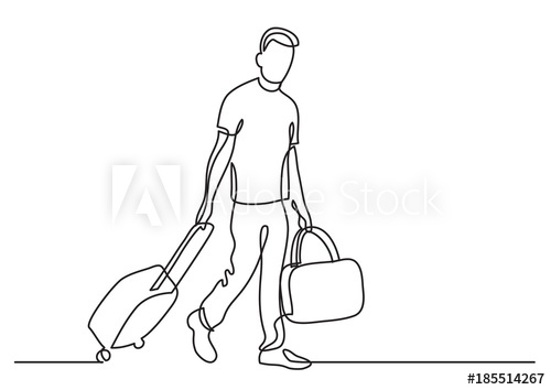 500x354 Continuous Line Drawing Of Traveler Walking Rolling Bag On Wheels