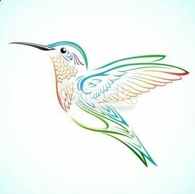 380x379 Outline, In Color, Hummingbird Tattoo Hummingbird Tattoo