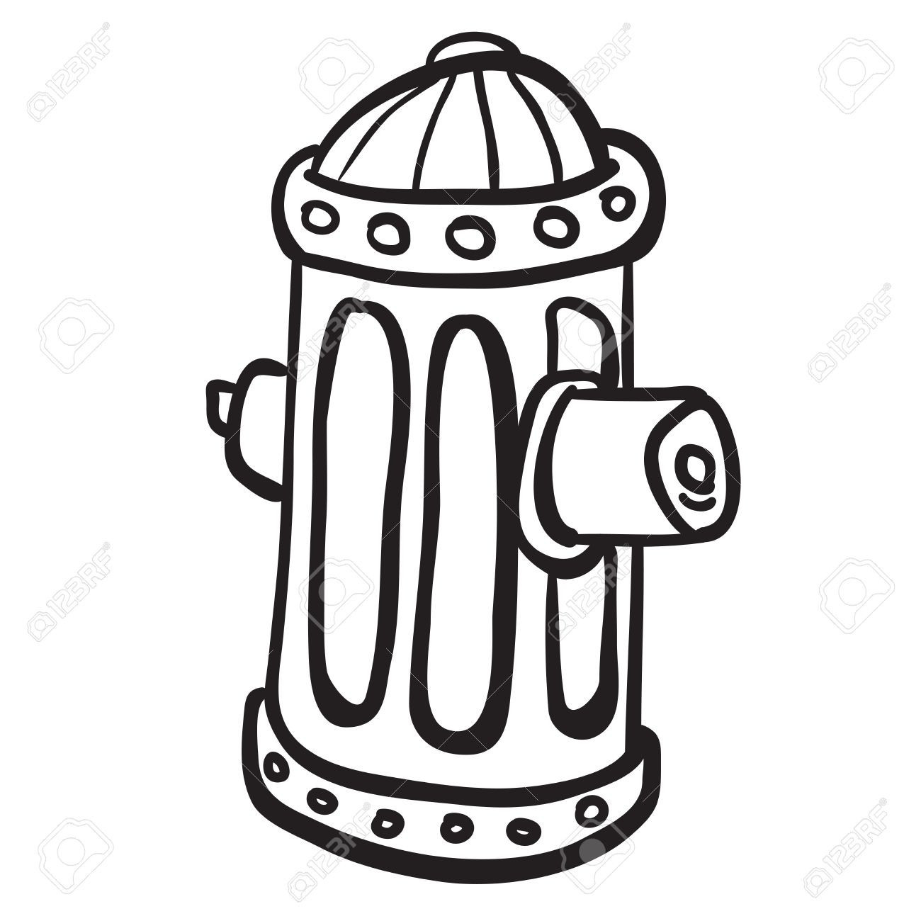 1300x1300 Simple Black And White Fire Hydrant Cartoon Royalty Free Cliparts
